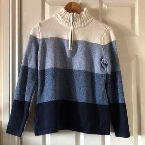 Sweaters - Blue color block gradient mock neck sweater